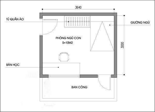 Bản vẽ phòng ngủ 12m2 05