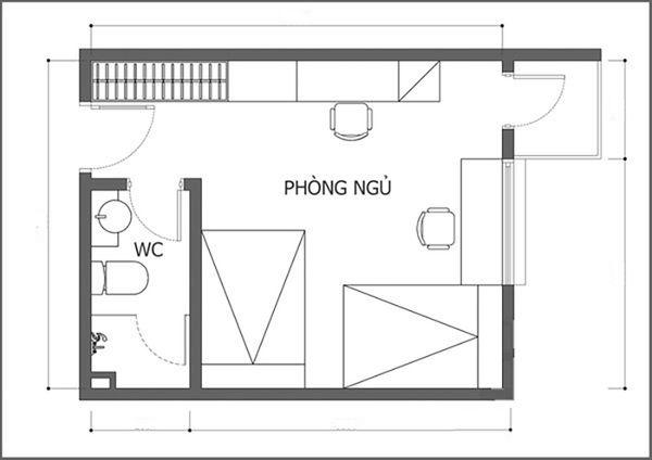Bản vẽ phòng ngủ 12m2 02