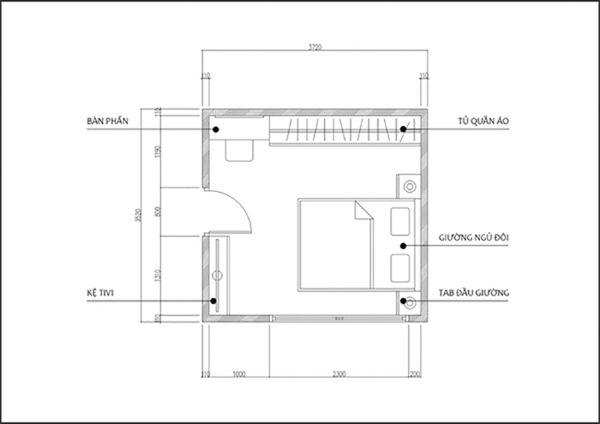 Bản vẽ phòng ngủ 12m2 03