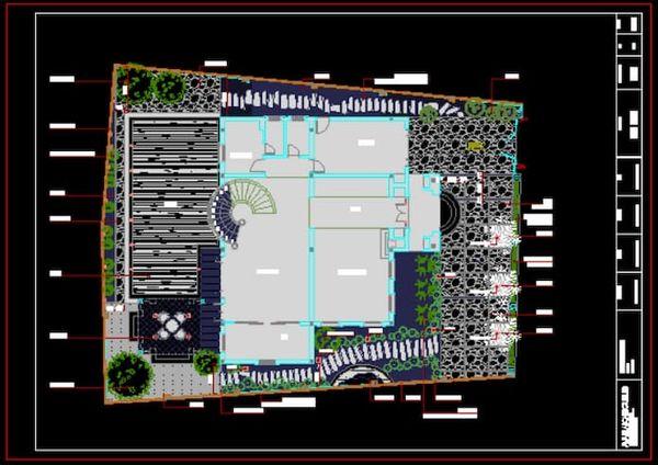 Mẫu bản vẽ sân vườn file cad 03