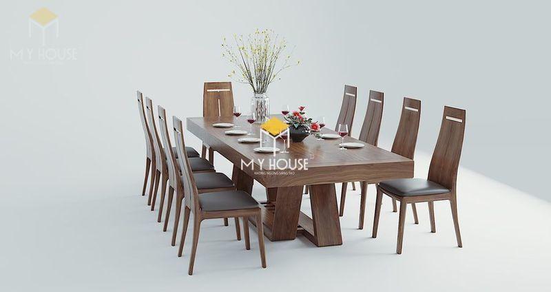 Bộ bàn ăn 10 ghế gỗ óc chó 04