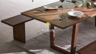 Bộ bàn ăn 10 ghế gỗ óc chó 6