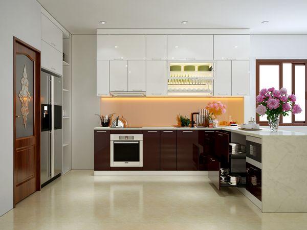 Phòng bếp tân cổ điển chữ L gỗ công nghiệp
