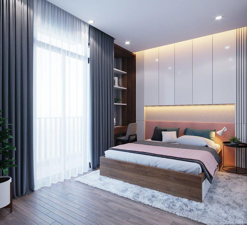 Mẫu thiết kế phòng ngủ có cửa kính ra ban công