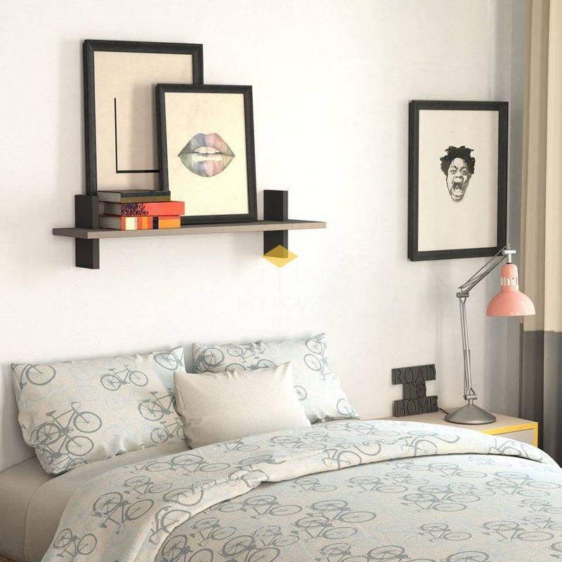 Trang trí phòng ngủ với kệ treo tường kiểu dáng độc đáo
