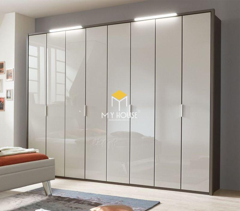 Tủ quần áo gỗ công nghiệp phủ acrylic bóng gương