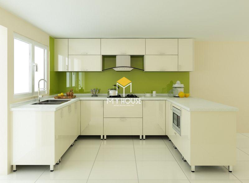 Mẫu phòng bếp gỗ MDF phỉ acrylic màu trắng đơn giản
