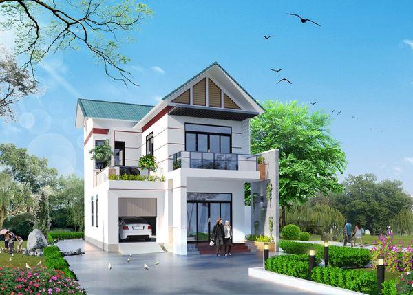 Mẫu nhà 2 tầng đẹp ở nông thôn 05