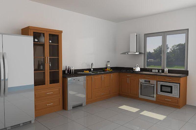 Mẫu tủ bếp có máy rửa bát 08