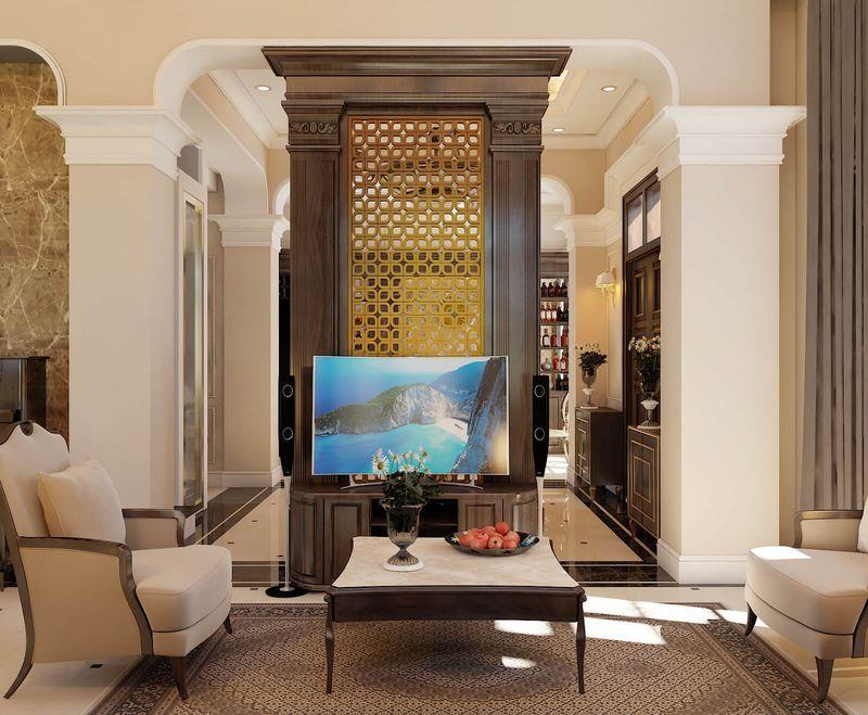 Thiết kế nội thất phòng khách nhà mái thái - mẫu 02
