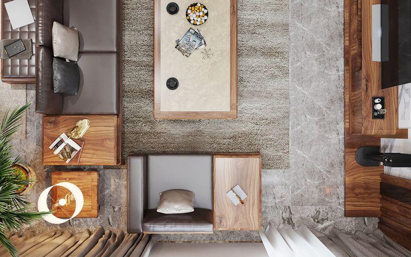 Thiết kế nội thất phòng khách nhà mái thái gỗ óc chó - mẫu 10