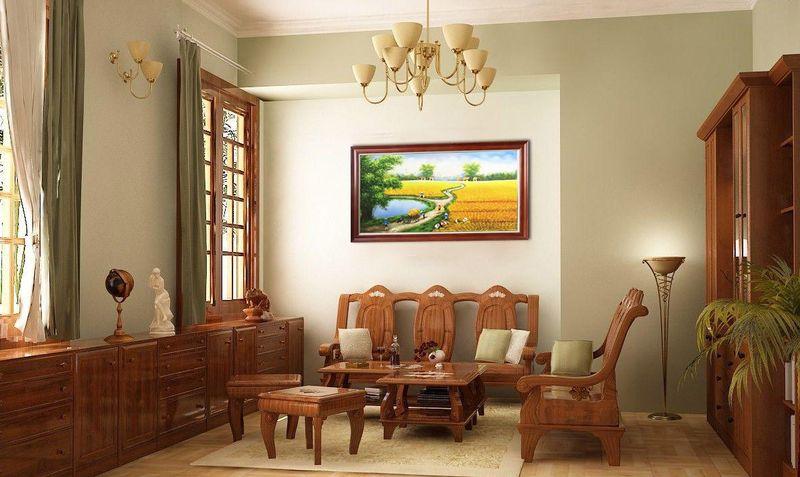 Thiết kế nội thất phòng khách nhà mái thái gỗ sồi - mẫu 11
