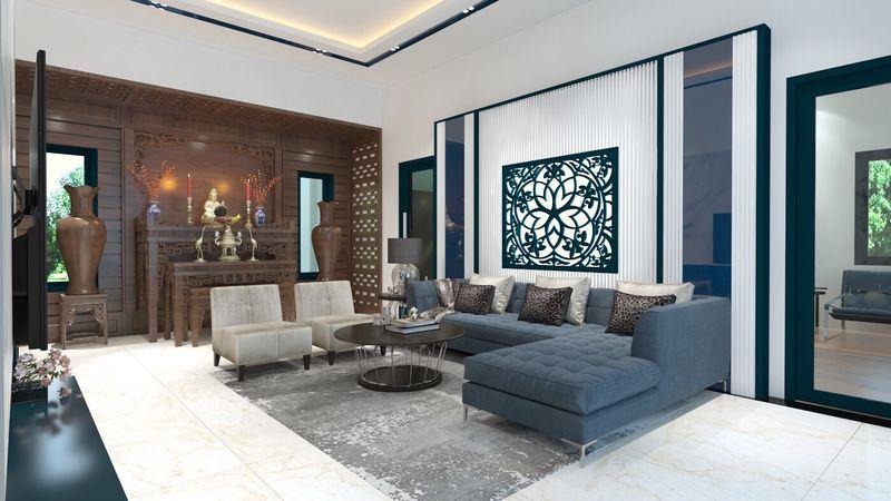 Thiết kế nội thất phòng khách nhà mái thái hiện đại gỗ óc chó - mẫu 12