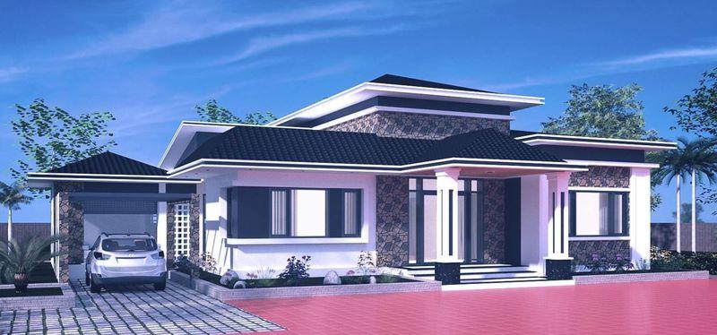 Nhà mái thái 1 tầng - biệt thự mái thái 1 tầng