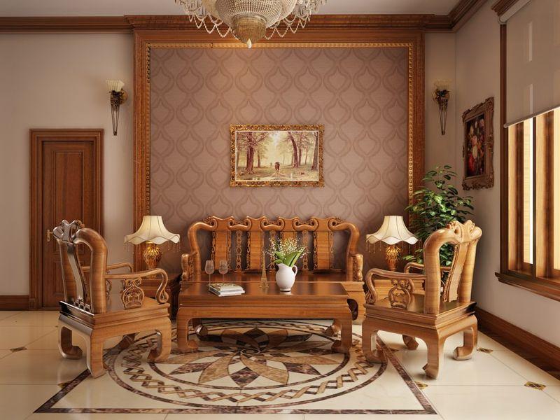 Thiết kế nội thất phòng khách nhà mái thái - mẫu 03