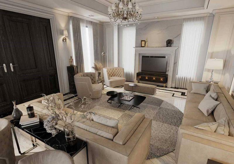 Thiết kế nội thất phòng khách nhà mái thái tân cổ điển - mẫu 04