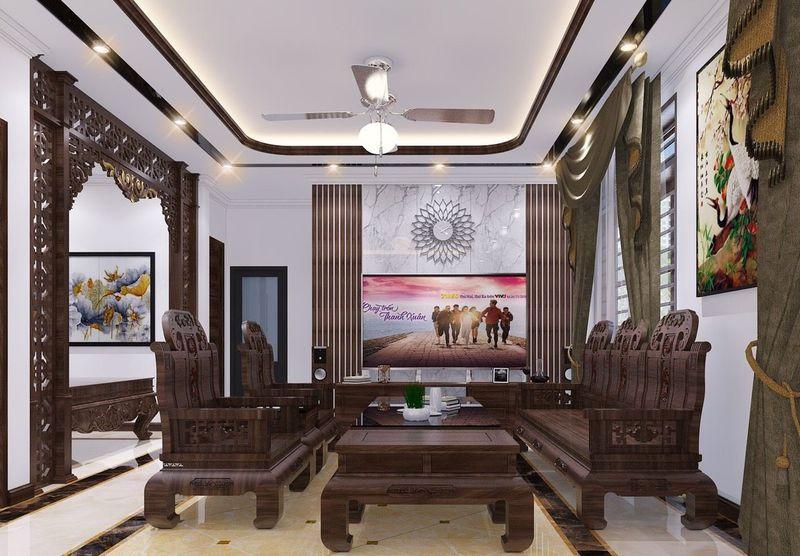 Thiết kế nội thất phòng khách nhà mái thái - mẫu 01