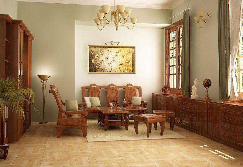 Thiết kế nội thất phòng khách nhà mái thái gỗ sồi - mẫu 05