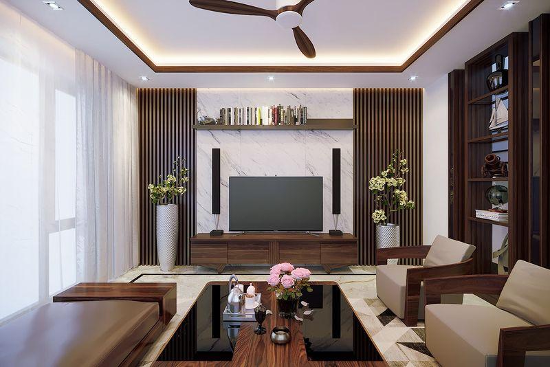 Thiết kế nội thất phòng khách nhà mái thái gỗ óc chó - mẫu 06