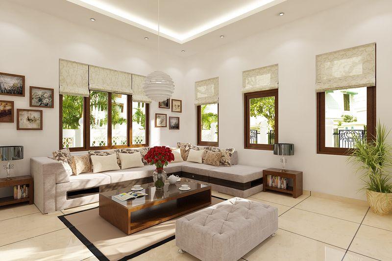 Thiết kế nội thất phòng khách nhà mái thái - mẫu 07