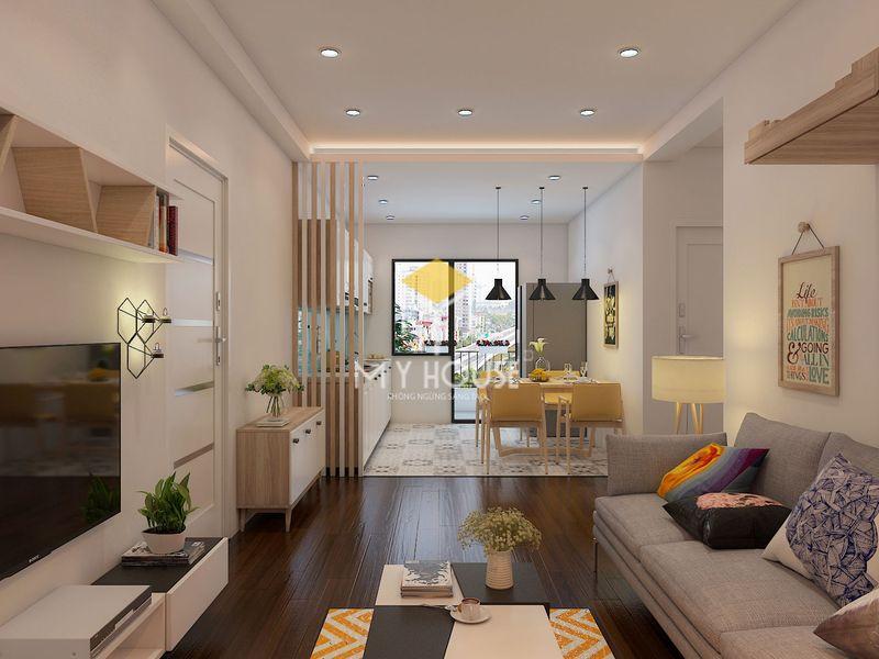 Trang trí phòng khách chung cư nhỏ bằng kệ trang trí treo tường