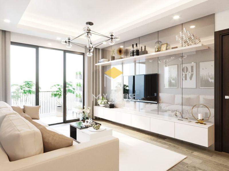 Thiết kế nội thất phòng khách chung cư gỗ công nghiệp