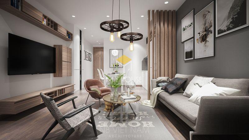 Thiết kế phòng khách chung cư đẹp gỗ tự nhiên