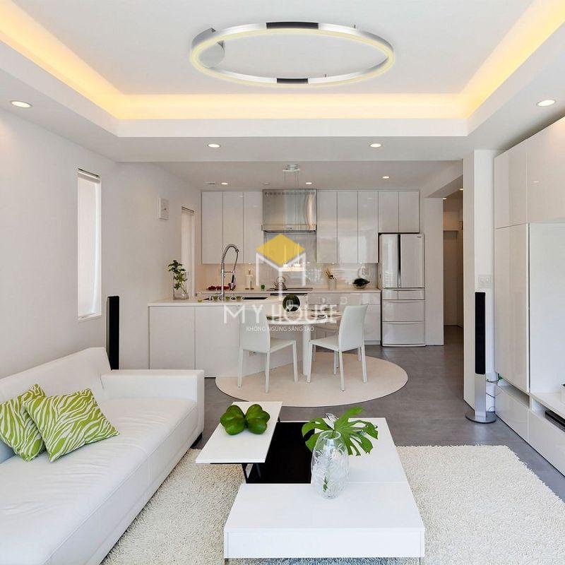 Phòng khách chung cư màu trắng