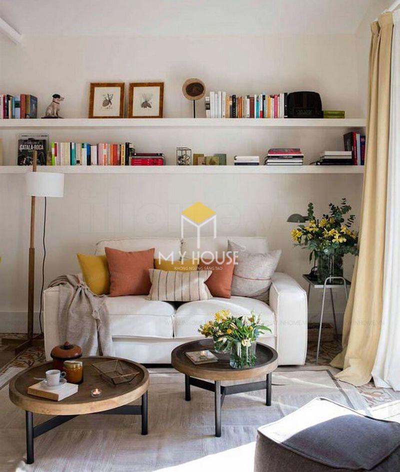 Trang trí phòng khách nhỏ bằng kệ sách