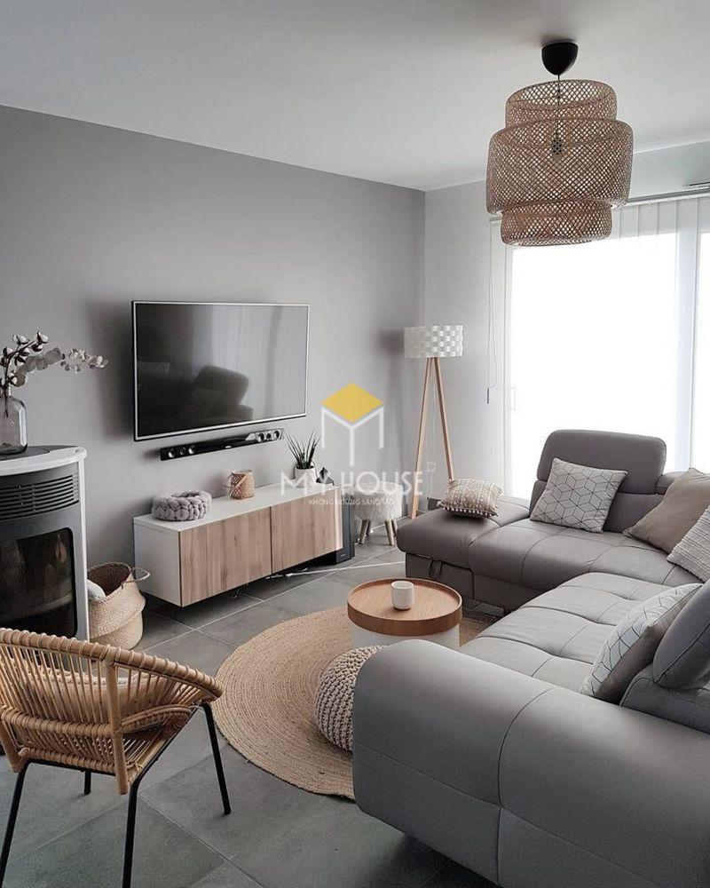 Trang trí phòng khách nhỏ với chất liệu mây tre, cói