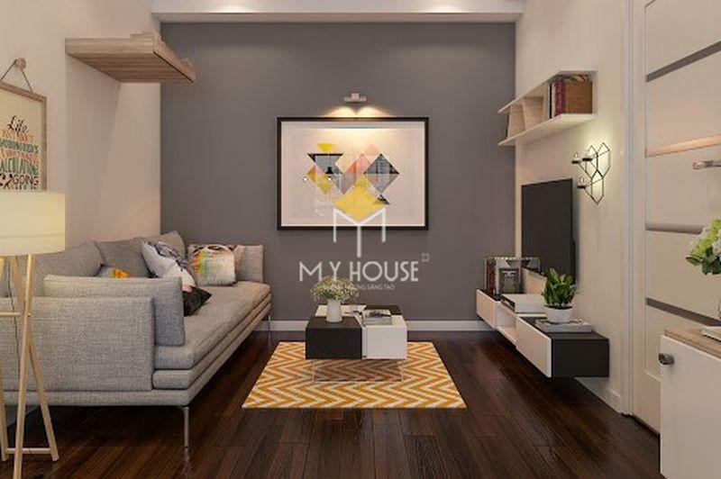 Phòng khách nhỏ với điểm nhấn là tranh treo tường ấn tượng