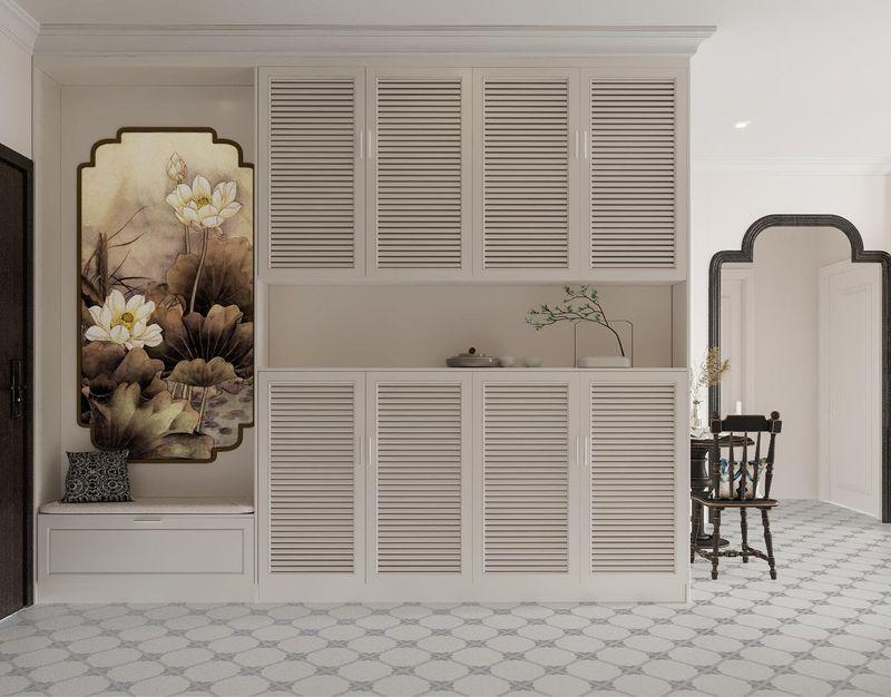 Mẫu thiết kế nội thất chung cư Indochine - Tủ giày âm tường phòng khách