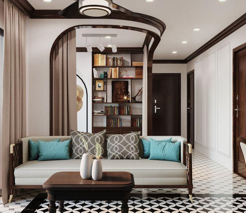Phòng khách Indochine sử dụng chất liệu gỗ tự nhiên, mây tre, gạch bông, gạch nung