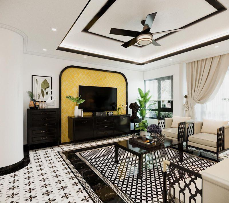 Phòng khách Indochine biệt thự đẹp
