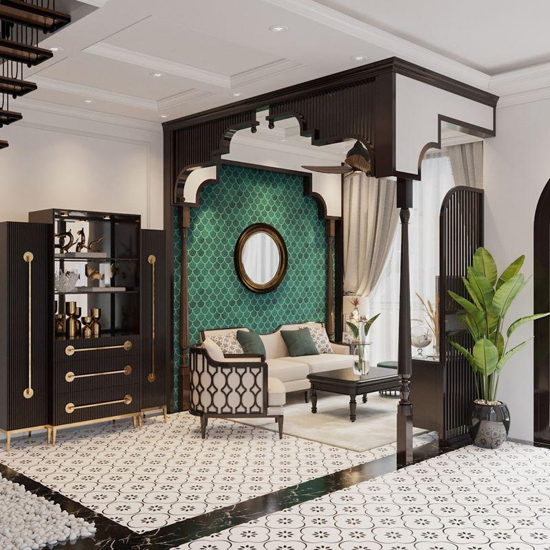 Đặc điểm của thiết kế phòng khách Indochine - hoa văn họa tiết
