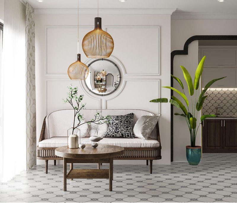 Mẫu thiết kế nội thất chung cư Indochine - Sofa phòng khách gỗ óc chó