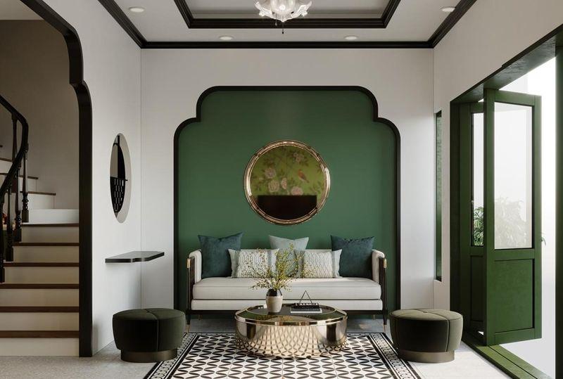 Mẫu phòng khách Indochine với màu xanh làm điểm nhấn
