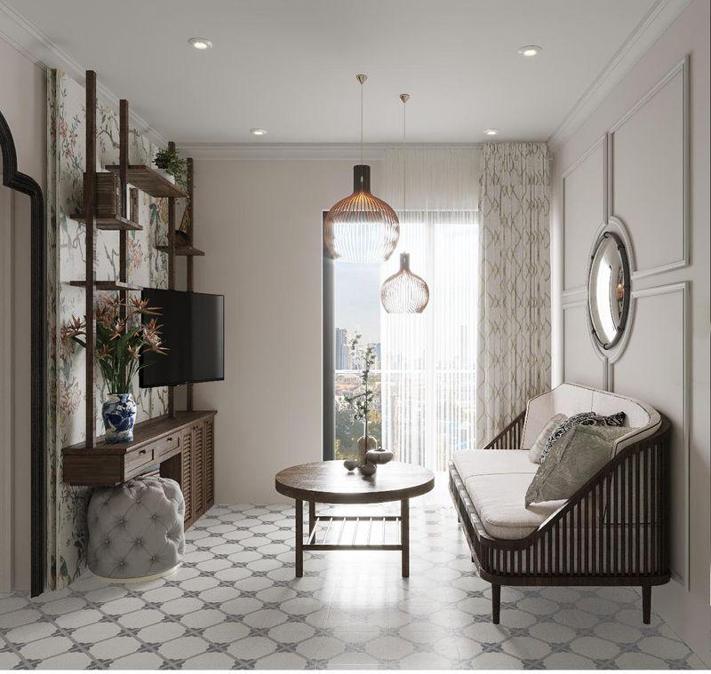 Mẫu thiết kế nội thất chung cư Indochine - Phòng khách Indochine thiết kế đẹp với ánh sáng tự nhiên
