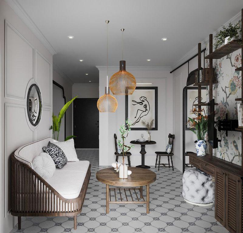 Mẫu thiết kế nội thất chung cư Indochine - phòng khách Indochine
