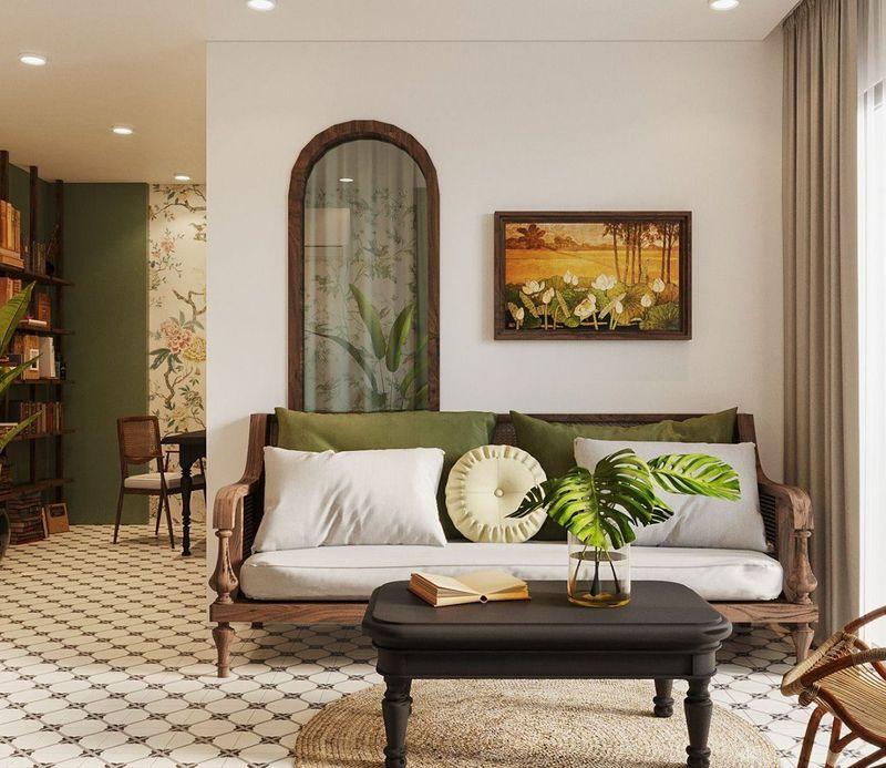 Phòng khách Indochine với màu chủ đạo như trắng, kem, vàng nhạt,...