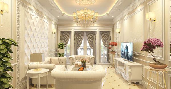 Phòng khách tân cổ điển nhà ống