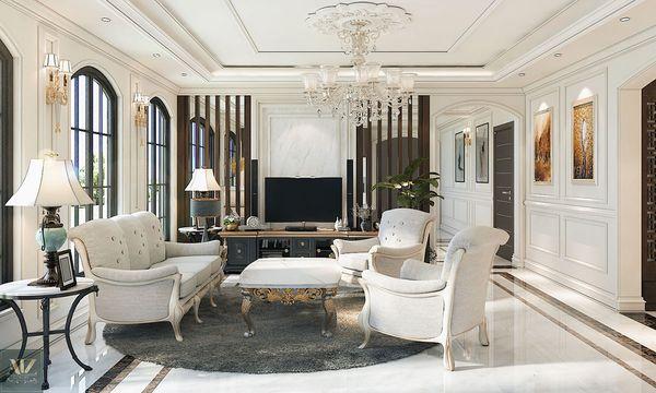 Mẫu nội thất phòng khách tân cổ điển nhà ống sang trọng màu trắng