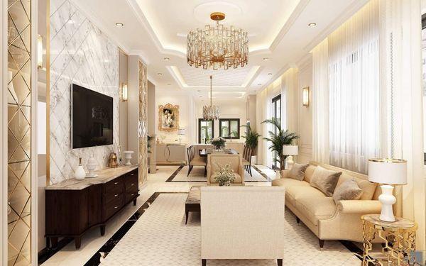 Mẫu nội thất phòng khách tân cổ điển nhà ống 5m