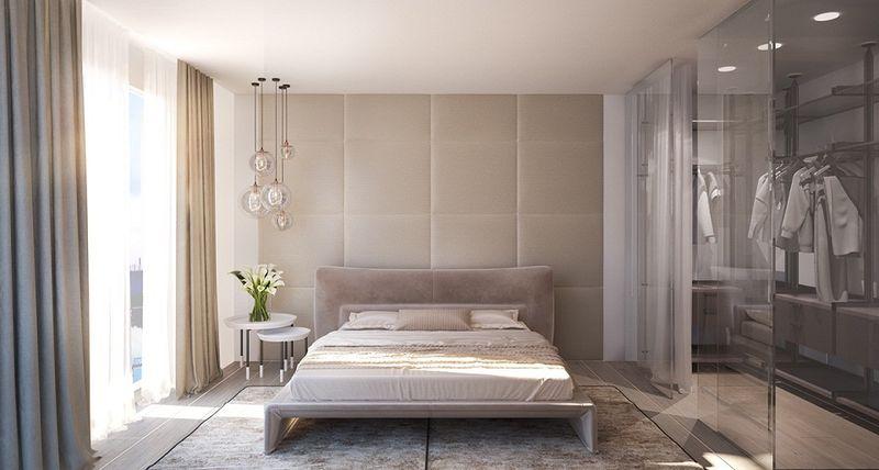 Mẫu thiết kế phòng ngủ có phòng thay đồ đẹp vách kính hiện đại