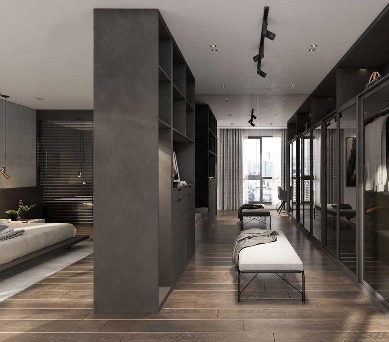 Mẫu phòng ngủ có phòng thay đồ rộng và hiện đại