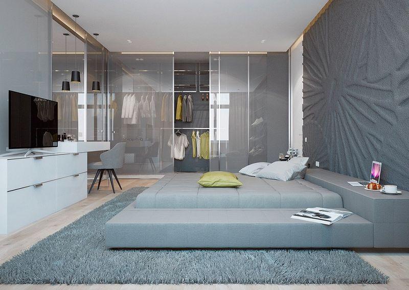Phòng ngủ có phòng thay đồ ngăn cách bởi vách kính