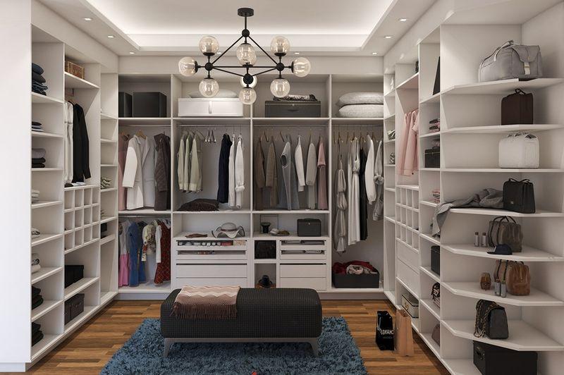 Mẫu tủ quần áo không cánh được sử dụng để tiết kiệm diện tích phòng thay đồ