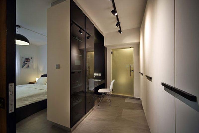 Phòng ngủ có phòng thay đồ chất liệu gỗ công nghiệp