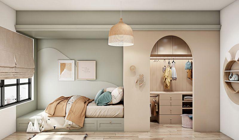 Phòng ngủ ngăn cách phòng thay đồ bằng vách tường