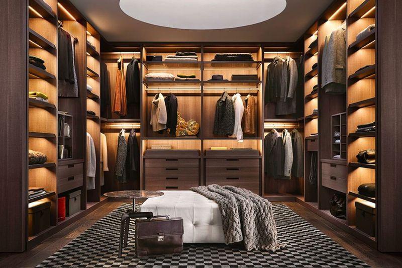 Phòng thay đồ gỗ tự nhiên cao cấp cho phòng ngủ master biệt thự
